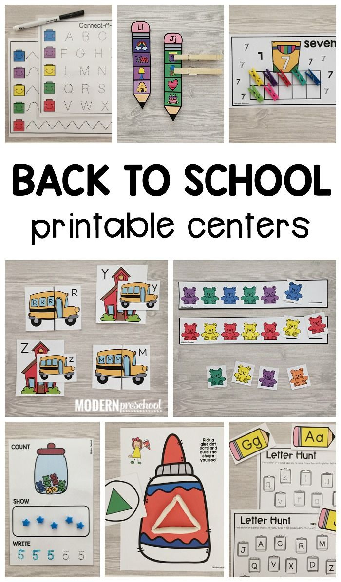 Perfect printable BACK TO SCHOOL Literacy & Math Centers are low prep and completely engaging and fun for preschool, prek, kindergarten!