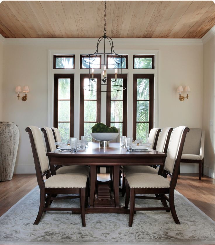Picture perfect dining room: The Canyon wood dining table and upholstered chairs.
