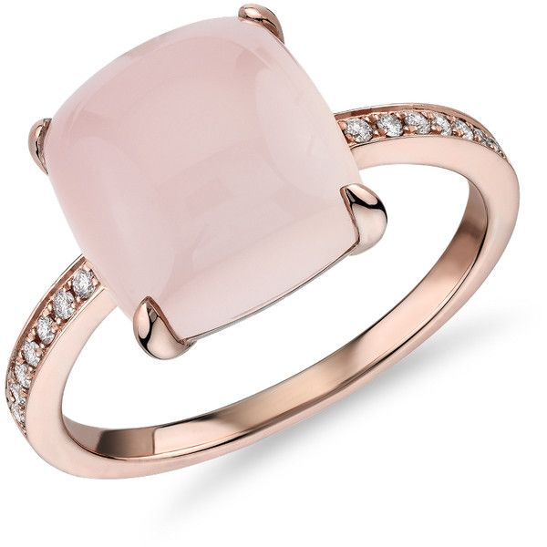 Blue Nile Cushion Cut Pink Agate Cabochon Ring with Diamond Sidestones (1075 TND) ❤ liked on Polyvore featuring jewelry, rings, 14 karat diamond ring, 14k ring, cushion cut diamond ring, blue nile rings and pink jewelry