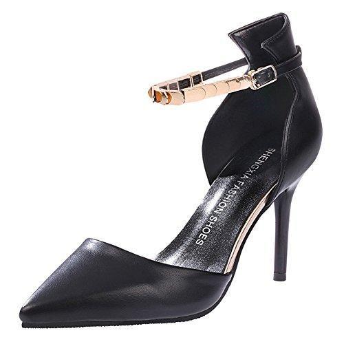 Oferta: 12.93€. Comprar Ofertas de Minetom Mujer Moda Correa De Tobillo Estiletes Zapatos Puntiagudos Tacón Alto Sandalias Negro 36 barato. ¡Mira las ofertas!