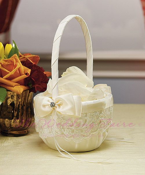 Beverly Clark French Lace Collection Flower Girl Basket - The Wedding Faire