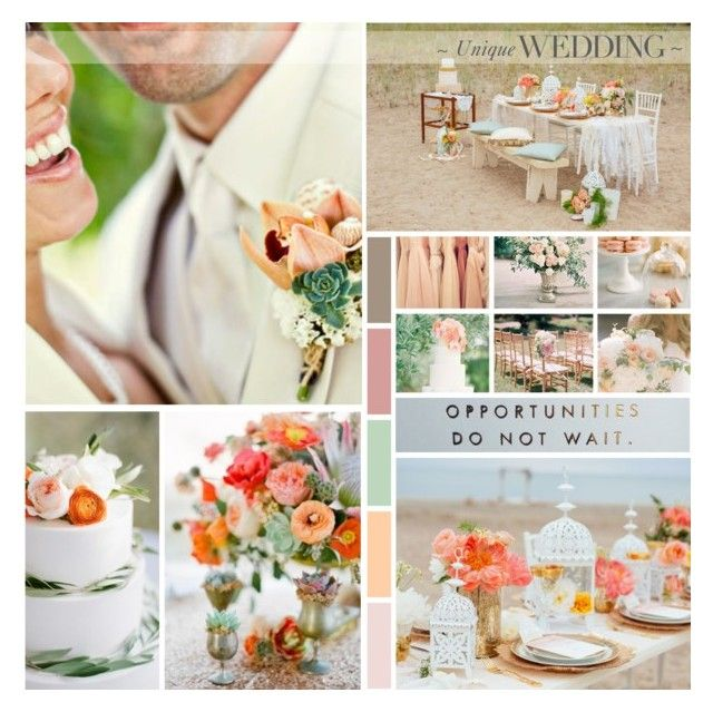 Opportunities Do Not Wait | Peach Coloured Wedding by anna-nemesis on Polyvore featuring women's clothing, women's fashion, women, female, woman, misses, juniors and wedding