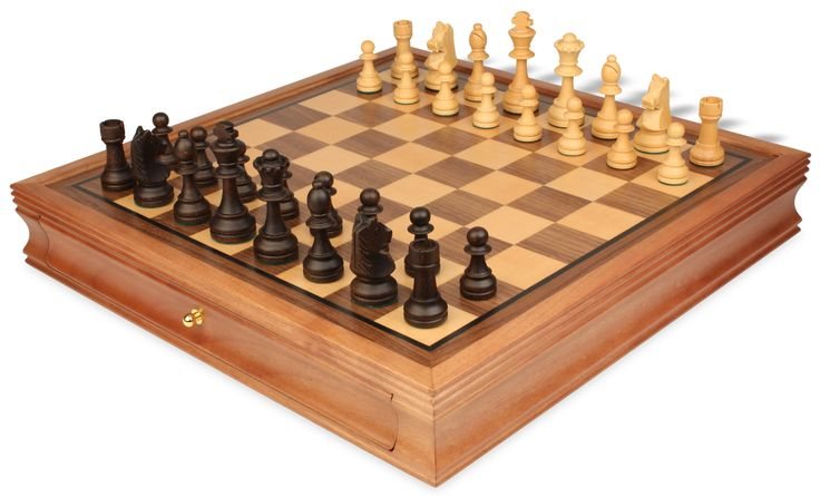 "Standard Staunton Chess Set with Walnut Chess Case - 3.75"" King - The Chess Store"