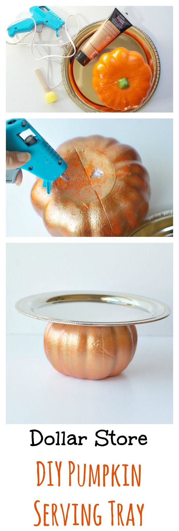 Dollar Store DIY Pumpkin Serving Tray. Perfect for Thanksgiving and fall parties.