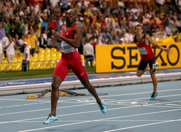 MOSCOW, RUSSIA - AUGUST 13: LaShawn Merritt of the United States crosses the line to win gold in the Men's 400 metres final during Day Four of the 14th IAAF World Athletics Championships Moscow 2013 at Luzhniki Stadium on August 13, 2013 in Moscow, Russia. (Photo by Ian Walton/Getty Images)