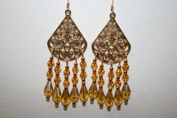 Honey Yellow Chandelier Earrings made with by ClassyKittyJewelry