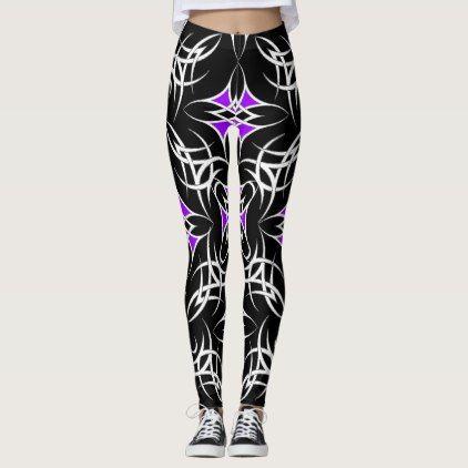 Celtic Tribal ( Purple ) Leggings - black gifts unique cool diy customize personalize