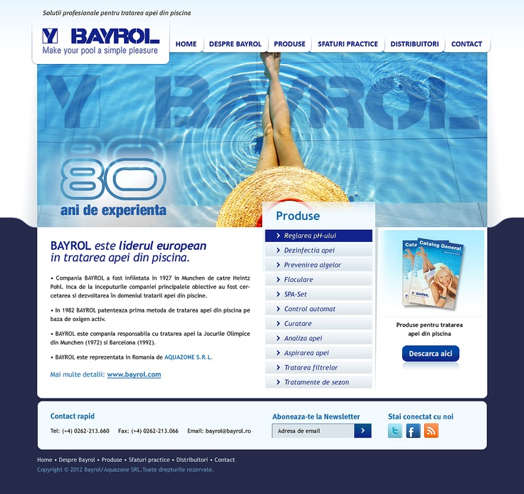web design site de prezentare solutii pentru tratarea apei la piscine si bazine