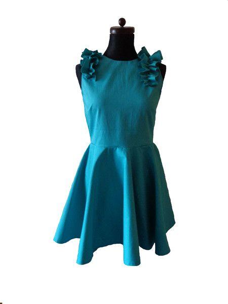 sukienka rozkloszowana turkusowa - gabrielahezner - Sukienki koktajlowe