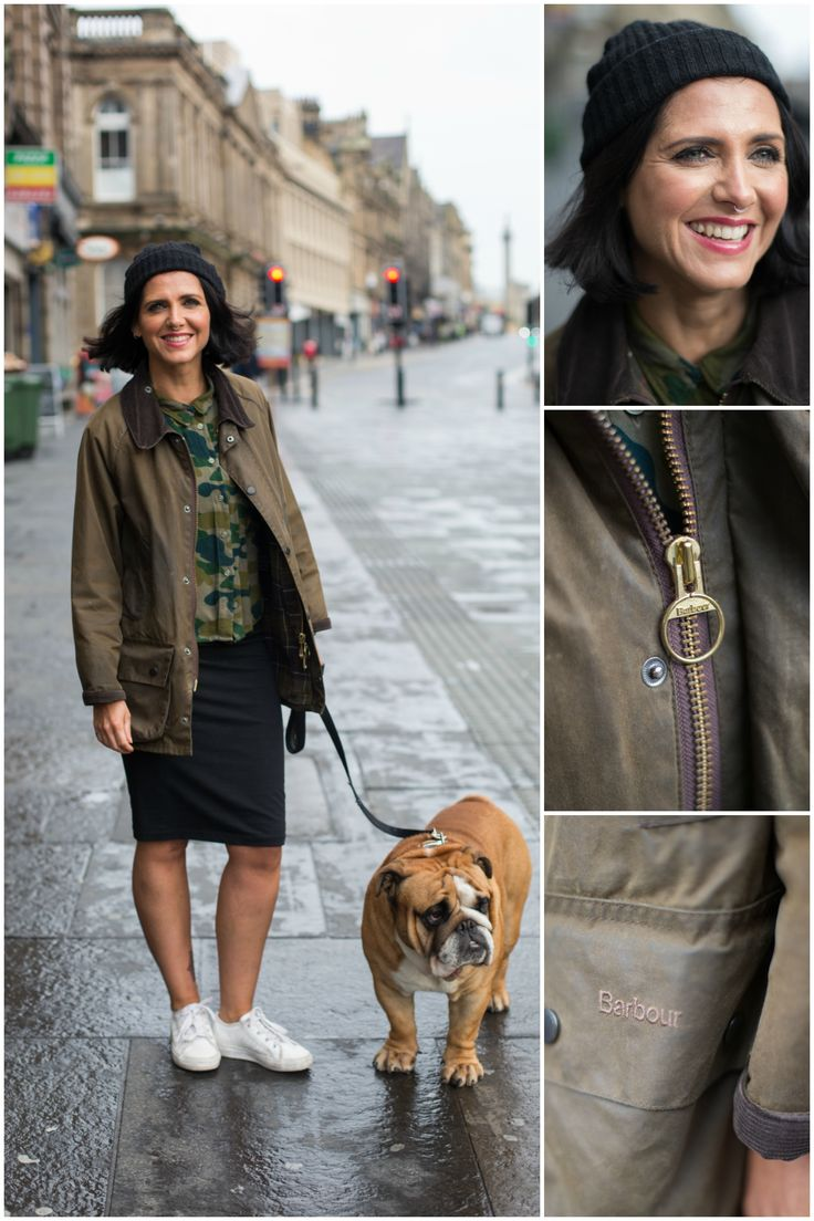 We spotted Claire wearing her Barbour Beaufort Wax Jacket - taking her trusty companion Rodney for a walk!
