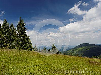 Idyllic view in polish mountains Beskidy