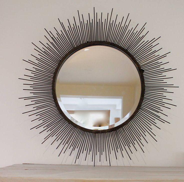Sunburst Mirror In Aged Metal