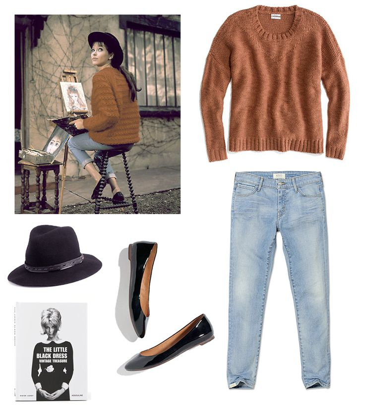 Like Anna Karina!    Sweater: Madewell soft stitch sweater in Warm Caramel  Jeans: KORAL cropped cigarette jeans  Hat: Rag & Bone floppy brim fedora  Shoes: Madewell patent skimmers  Book: The Little Black Dress