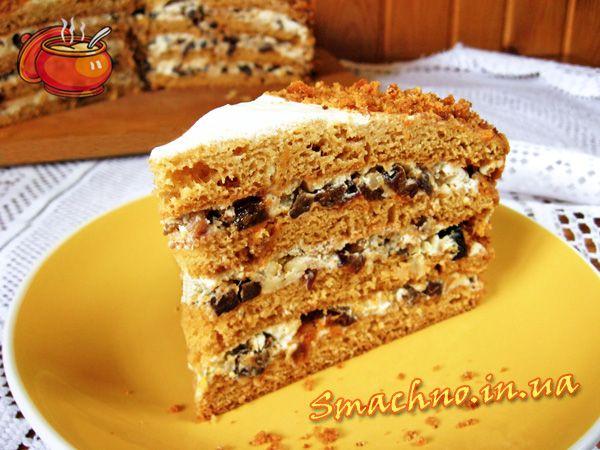 Медовый торт с черносливом и орехами. Рецепт приготовления.