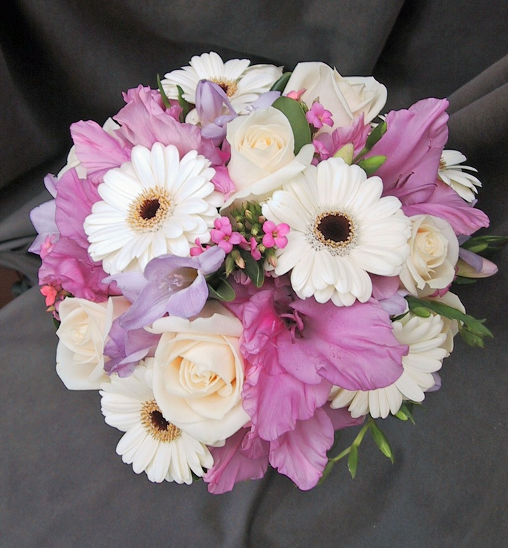 Posy Wedding Bouquet With White Gerbera Daisies Lavender Glads Purple Freesia Roses And