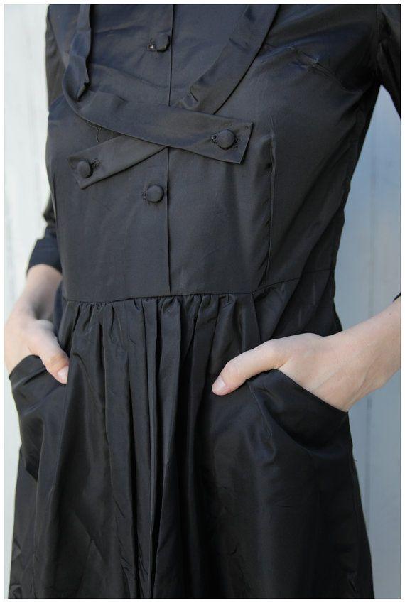 Vintage LBD Black Taffeta 50's Dress with by AnimalHeadVintage