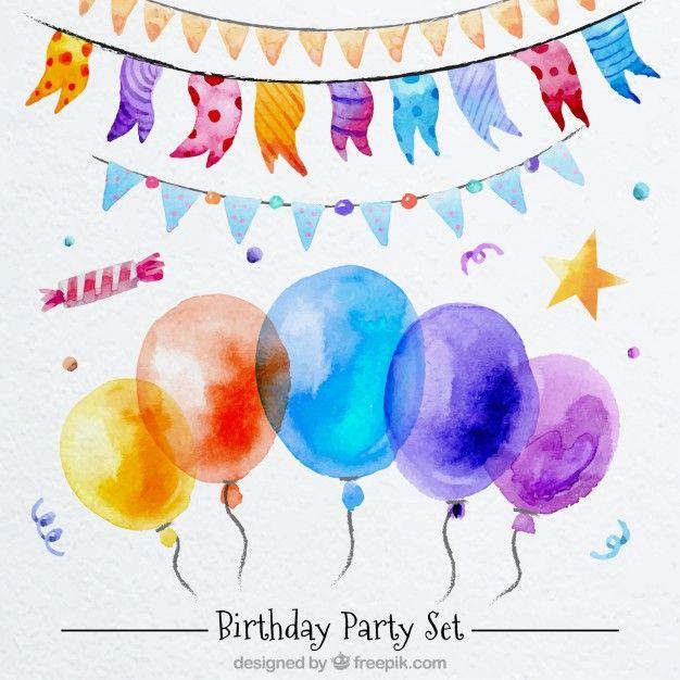 Открытка с днем рождения акварель