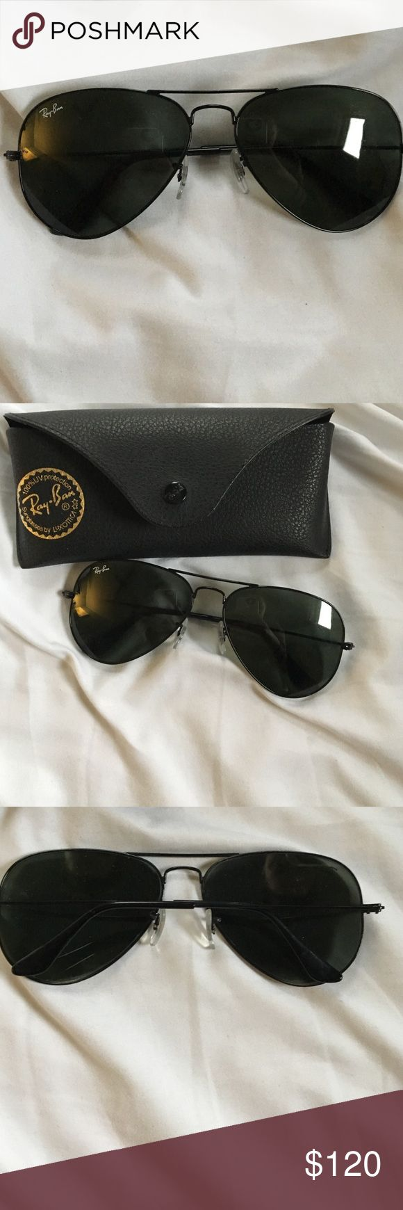 Brand new black aviators! Black aviator ray bans in perfect condition! A staple for any wardrobe. Ray-Ban Accessories Glasses