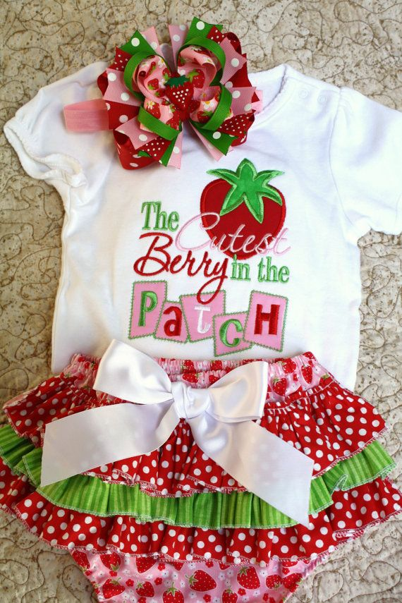 Custom embroidered strawberry onesie ruffle by pigtailsandgumdrops, $53.00