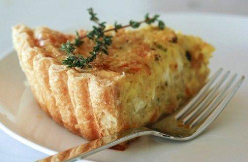 Leek, goats' cheese, parmesan and thyme tart