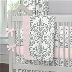 Pink and Gray Traditions Crib Blanket 250x250 image