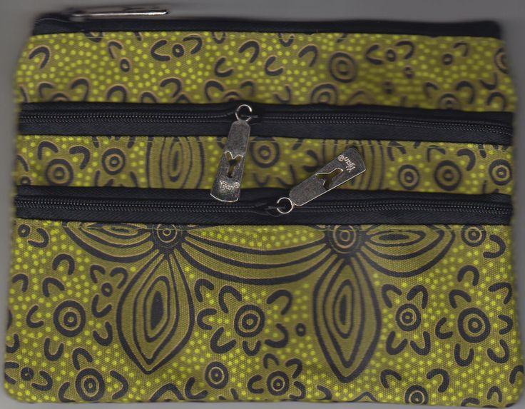 Yijan 3Z Cosmetic Bag Women's Ceremony Yuelamu (Green) Artist: Maureen Hudson Nampajimpa Code: YI-COS-3Z-17Green Price: $14.00 or 2 for $26.00