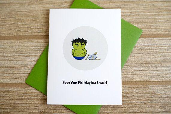 Hulk Birthday Card Punny Cards Birthday Cards Diy Marvel Cards