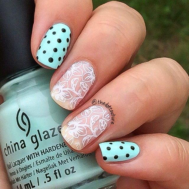 Lace and polka dot nail art   @chinaglaze At Vase Value  @sinfulcolorsprofessional Black on Black  @essiecanada Adore-A-Ball  @konad_art white stamping polish  #Cheeky Jumbo plate 8