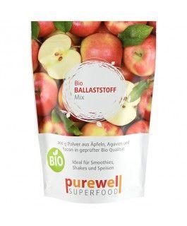 """BALLASTSTOFF MIX Pulver - Bio Superfood - Die Ballaststoffe in """"Bio Ballaststoff Mix"""" von Purewell sind die Bestandteile aus Bio Äpfeln, Bio Inulin (aus Agaven) und Bio Yacon, welche im Körper nicht weiter verarbeitet werden, aber bei der Verdauung eine sehr wichtige Rolle spielen. Ballaststoffe sind u.a. wichtig für die Verdauung, die Entgiftung des Körpers, bei der Regulierung des Blutzuckerspiegels und können beim Abnehmen helfen, da sie lange satt halten und Heißhungerattacken…"""