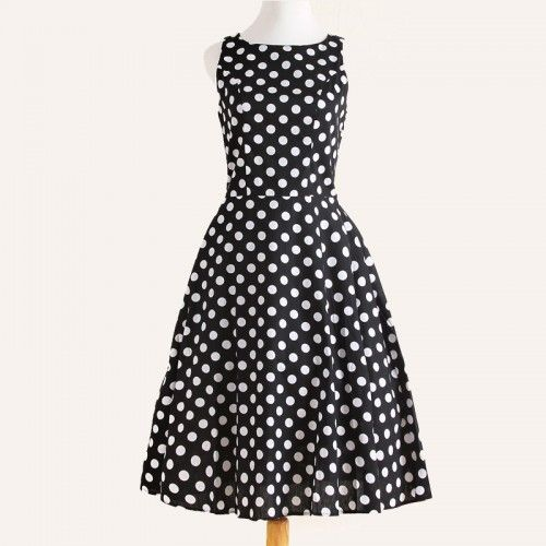 black and white dot Sleeveless round neck dresses