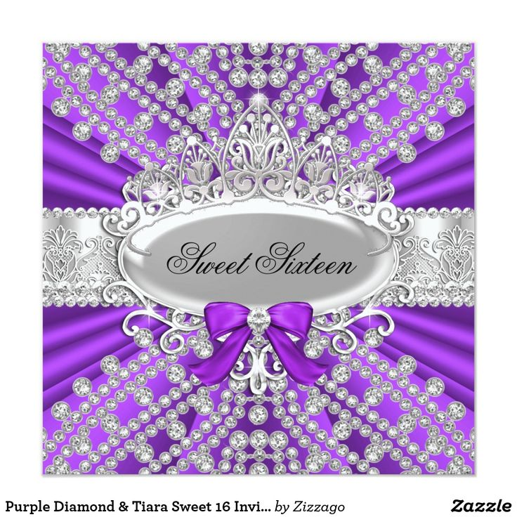 Purple Diamond & Tiara Sweet 16 Invitation Sweet sixteen invitation. Elegant silver tiara & sparkle diamonds. Please note: All flat images they do not have real jewels or bows!