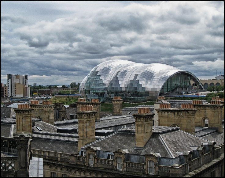 The Sage Gateshead as seen from across the river in Newcastle, UK. Shot from the Tyne bridge.