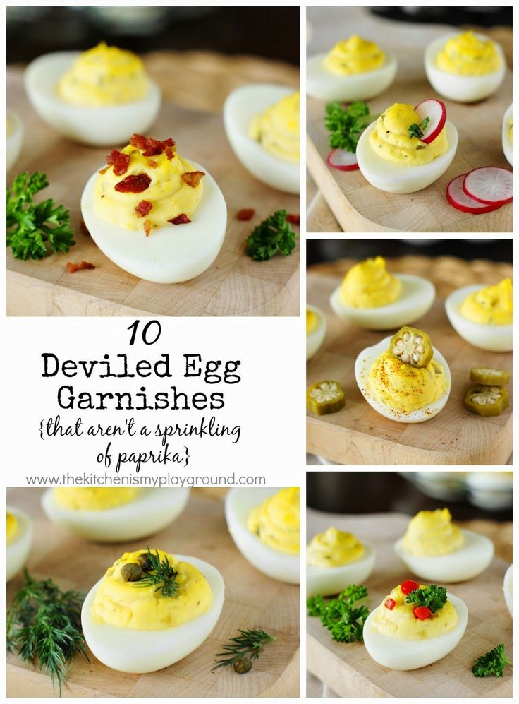 Dress up your deviled eggs with 10 fun garnish ideas ... that are not the usual sprinkling of paprika.   www.thekitchenismyplayground.com