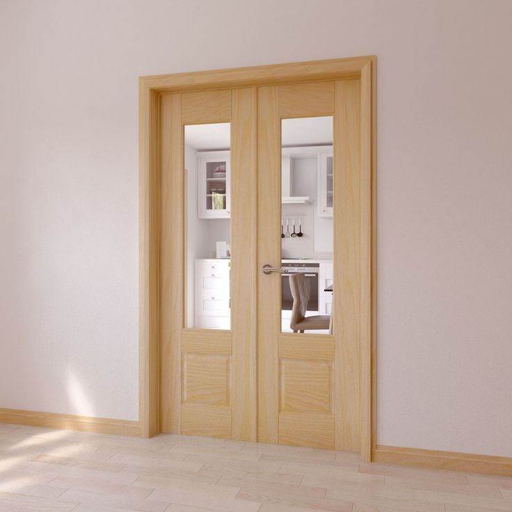 Clear Glazed 2 Panel Clear Pine Internal French Door Set | Departments | DIY at B&Q