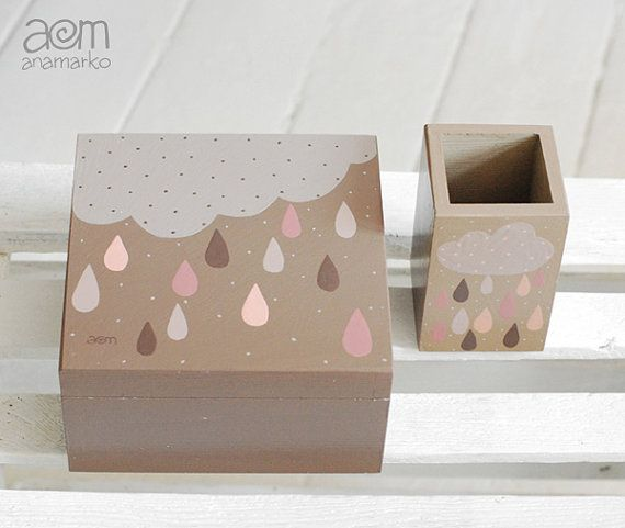 SET of 2 - hand painted box set - ' It's a rainy day, hallelujah ', keepsake box, wooden box, wooden case
