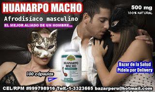Disfuncion Erectil - Huanarpo Macho: Afrodisíaco masculino y Potenciador sexual. El efectivo aliado de los hombres, mejora su desempeño físico, energizante, afrodisíaco y estimulante sexual. >Afrodisíaco masculino >Disfunción eréctil >Aumenta la energía vital >Estimulante hormonal (promueve la segregación de testosterona) >Antiasmático >Antibronquial >Antidiabético >Béquico (contra la tos) >Contra úlceras de la piel >Restaurador de la potencia sexual masculina; Presentación: 100 cápsul...