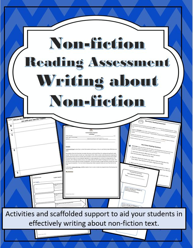 This resource contains four essay questions for non-fiction books (general questions that cover most books), the graphic organizers to help students organize their thoughts and writing, sample written essays, and a grading rubric.These tools allow the teacher to easily differentiate the lesson and activities.