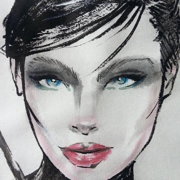 Fashion illustration of Luma ~ detail #fashionillustration #woman #fashion #illustration #myart #painting #watercolor #ink #paper #art #artist #nevenazamfi #sumie #brush #xuan
