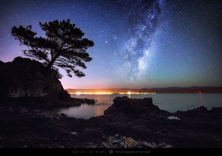 The Hide Away - There are many hidden gem locations in Wellington, New Zealand along the shoreline of the harbour, and I spend a lot of time exploring them. This location is only a 5 minute drive from my house, so I recently planned a shoot to capture the galactic centre of our Milky Way rising above the hills to the east, with the old pine tree growing from a rocky outcrop silhouetted against the night sky.