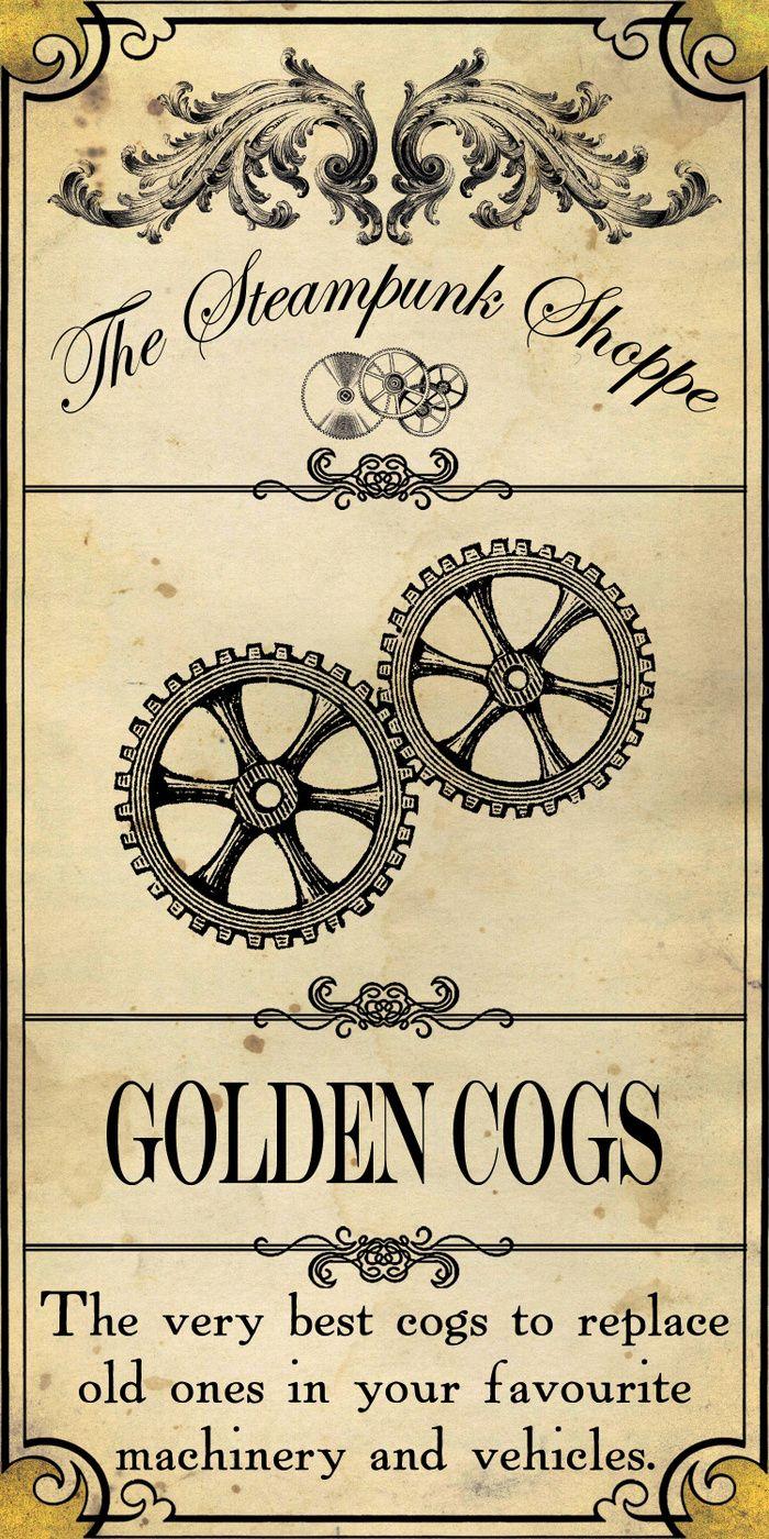 Steampunk Apothecary Shoppe - Cogs Art Print by VectoriaDesigns   Society6