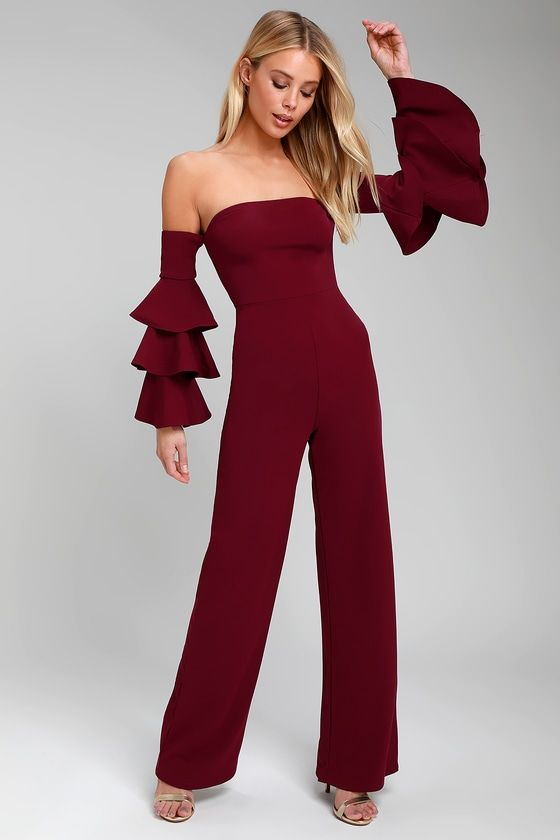 cf26c5d52ebe Lulus Exclusive! The Lulus Vivacious Burgundy Off-the-Shoulder Flounce  Sleeve Jumpsuit is sure to be the life of the party! Flattering stretch  knit shapes a ...