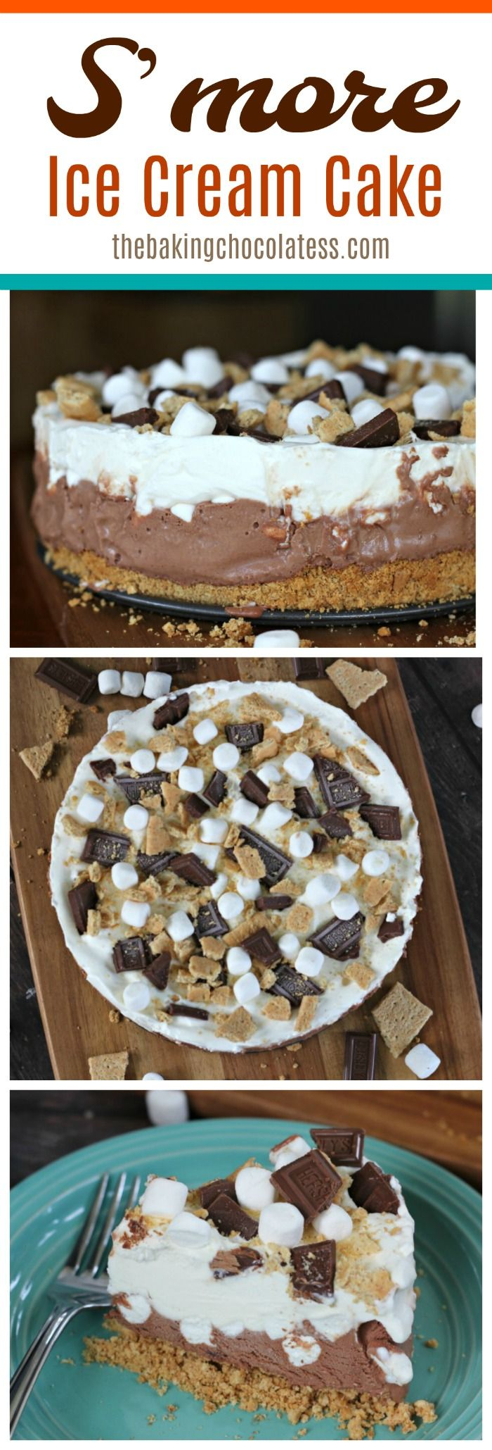 Have S'more fun devouring delicious bitefuls of this wonderful S'more Ice Cream Cake packed full of marshmallows, chocolate ice cream, whipped cream, Hershey's Bar Bits and graham crackers, which makes it one of the best summer treats of Summer! via @https://www.pinterest.com/BaknChocolaTess/