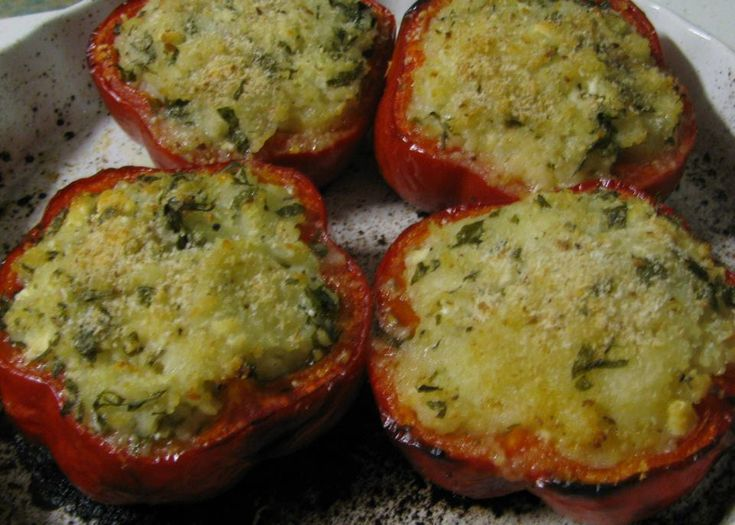Vegan stuffed red capsicum