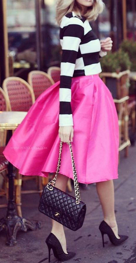 #fall #fashion / pink + stripes