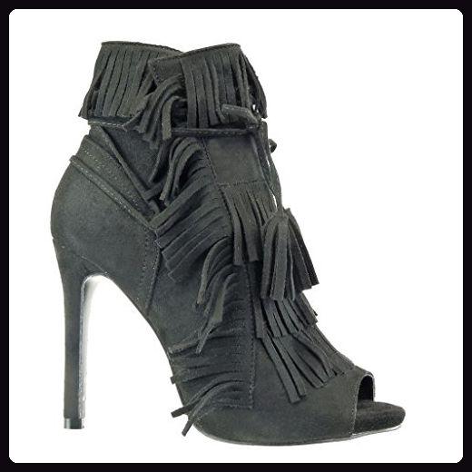 Angkorly - damen Schuhe Stiefeletten Pumpe - Stiletto - Offen - Franse - Bommel - Spitze Stiletto high heel 11 CM - Schwarz C-242 T 38 - Stiefel für frauen (*Partner-Link)