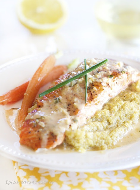 Pan Seared Salmon with a Coconut Thai Curry Sauce via epicureanmom.com: Recipe, Coconut Curries, Thai Curries, Curries Salmon, Coconut Thai, Epicurean Mom, Pan Seared Salmon, Curries Sauces, Curry Sauce