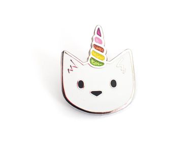 Unicorn Cat with Glitter Horn Enamel Pin from DoodleCats