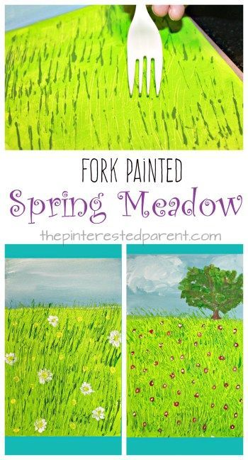 Fork Painted Spring Meadow – Children's Art Projects for the