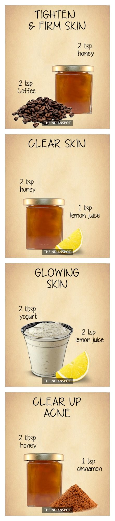 DIY skin mask and scrub using all natural ingredients for all skin types. Honey, lemon, coffee, yogurt etc... For acne, dry skin, glowing skin, tighten skin, or aging skin