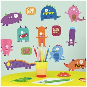 A MUST HAVE!!!!!! Removable Monster Wall Stickers and Borders -  Monsters Wall Decor for Kids Bathroom - Peel and Stick Monster Wall Decals for Classrooms, Preschools and Kids Rooms